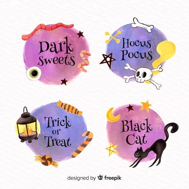 Aquarel halloween label collectie Gratis Vector