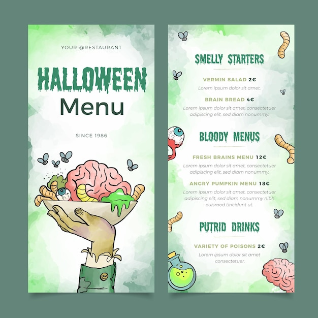 Aquarel halloween menusjabloon Gratis Vector