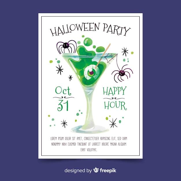 Aquarel halloween partij poster sjabloon Gratis Vector