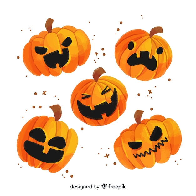 Aquarel halloween pompoen collectie Gratis Vector