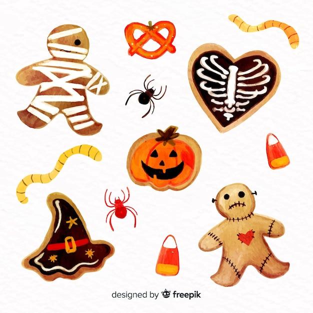 Aquarel halloween snoep collectie Gratis Vector