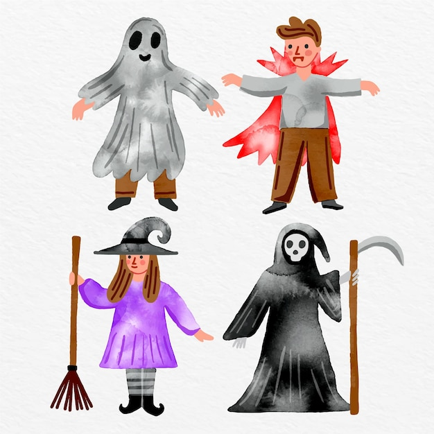 Aquarel halloween tekenverzameling Gratis Vector
