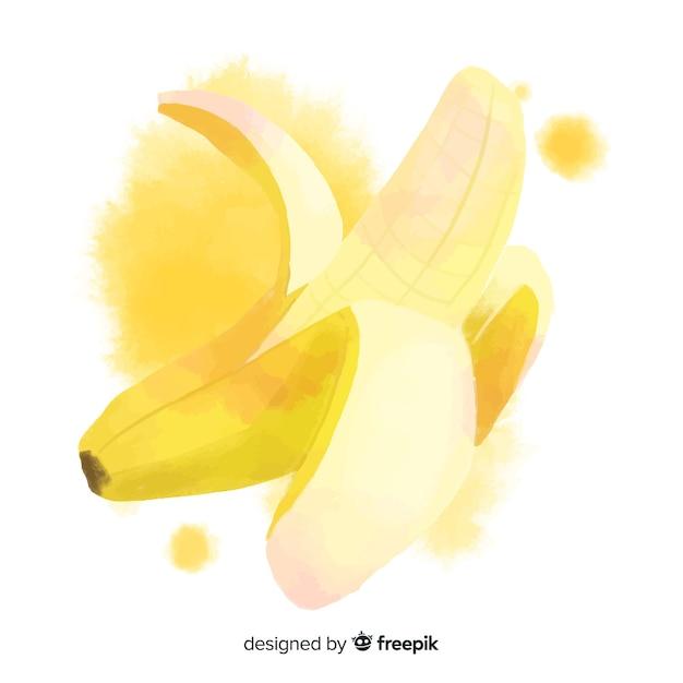 Aquarel hand getekend banaan achtergrond Gratis Vector