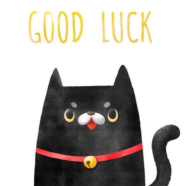 Aquarel hand getekend zwarte kat. Premium Vector