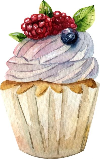 Aquarel hand getekende taart illustratie. room, chocolade en bessen. zoet dessert. Premium Vector