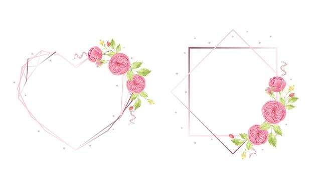 Aquarel hand tekenen roze engelse roos krans met geometrische frame-collectie Premium Vector