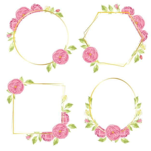 Aquarel hand tekenen roze engelse roos krans met geometrische gouden frame-collectie Premium Vector