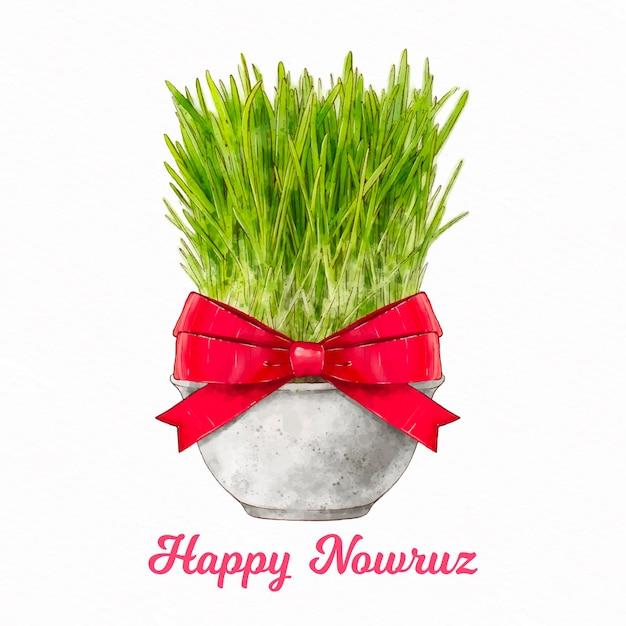 Aquarel happy nowruz illustratie met spruiten Gratis Vector