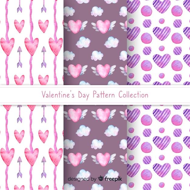 Aquarel harten valentijn patroon collectie Gratis Vector