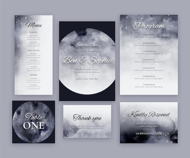 Aquarel hemelse bruiloft briefpapier collectie Gratis Vector