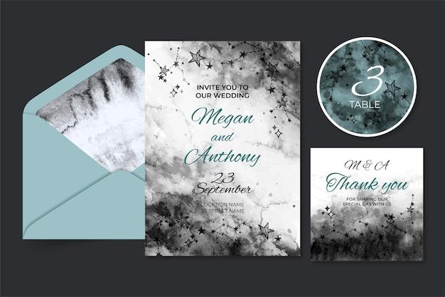 Aquarel hemelse bruiloft briefpapier Gratis Vector