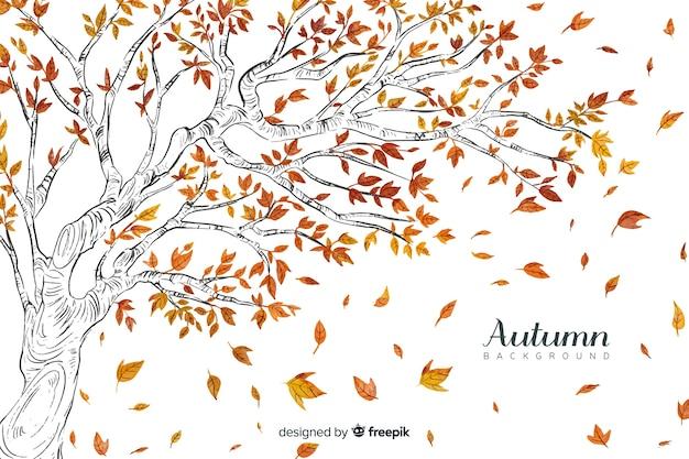 Aquarel herfst achtergrond met bladeren Gratis Vector
