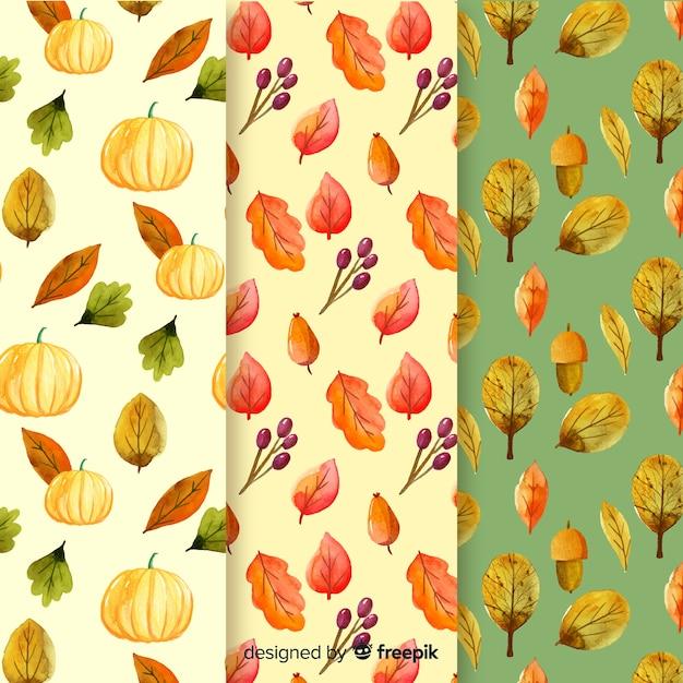 Aquarel herfst patroon collectie Gratis Vector