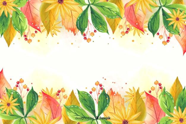 Aquarel herfstbladeren achtergrond Gratis Vector
