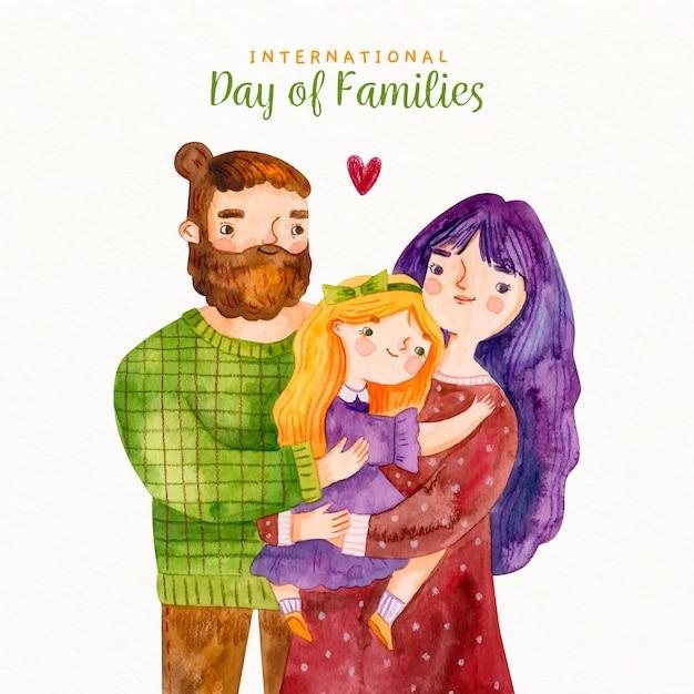 Aquarel hipster internationale dag van gezinnen Gratis Vector