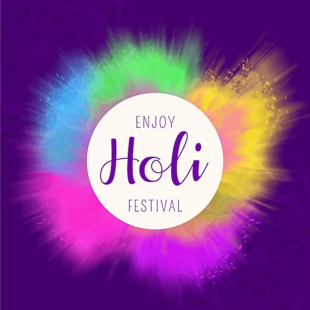Aquarel holi festival achtergrond Gratis Vector