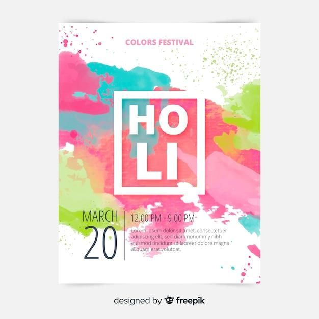Aquarel holi poster sjabloon Gratis Vector