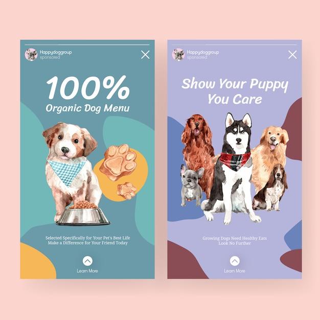 Aquarel hond advertentie banner sjabloon set Gratis Vector