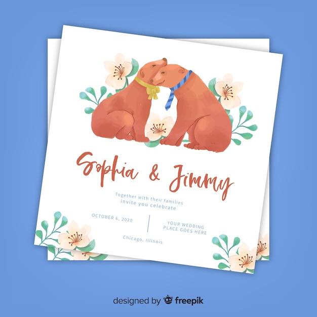 Aquarel honden bruiloft uitnodiging sjabloon Gratis Vector