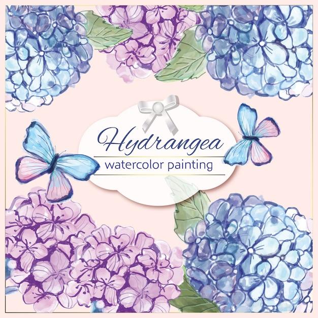 Aquarel hortensia Premium Vector