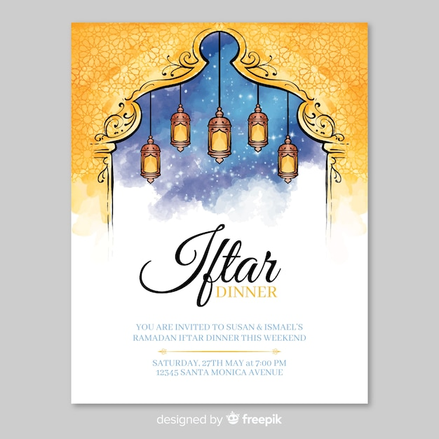 Aquarel iftar uitnodiging sjabloon Gratis Vector