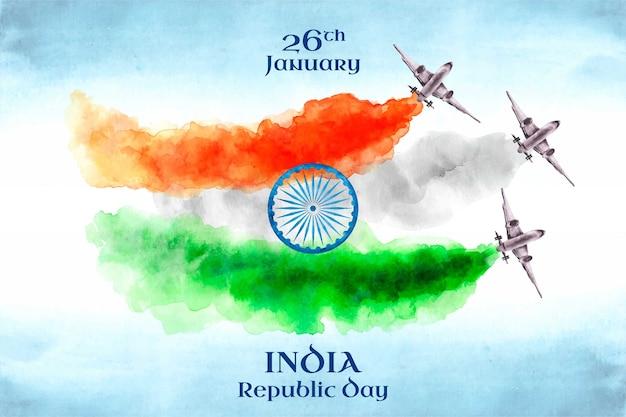 Aquarel indiase republiek dag Gratis Vector