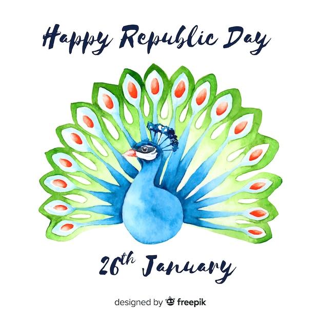 Aquarel indische republiek dag achtergrond Gratis Vector