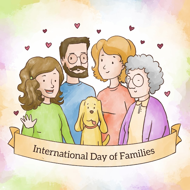 Aquarel internationale dag van gezinnen Gratis Vector