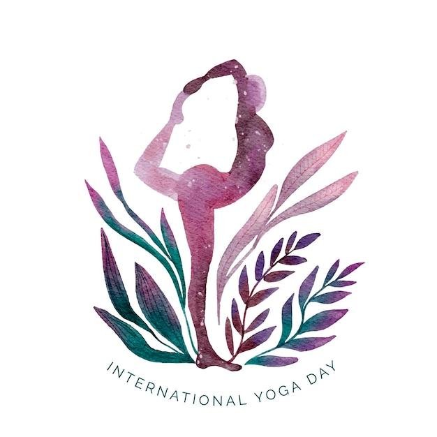 Aquarel internationale dag van yoga Gratis Vector