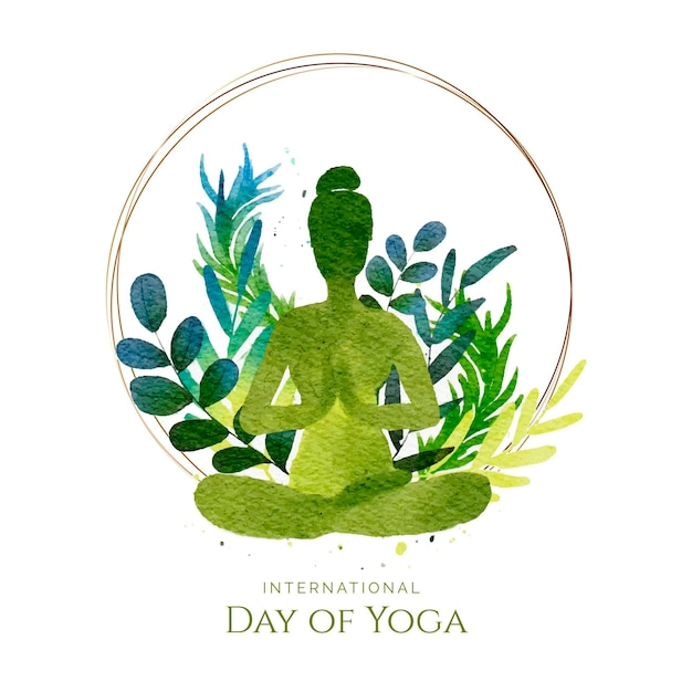 Aquarel internationale dag van yoga Premium Vector