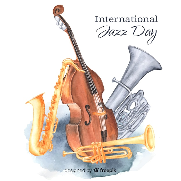 Aquarel internationale jazz dag achtergrond Gratis Vector