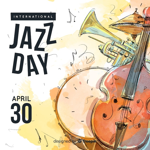 Aquarel internationale jazz dag achtergrond Gratis Vector