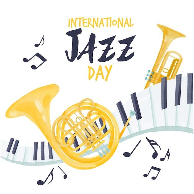 Aquarel internationale jazzdag Gratis Vector