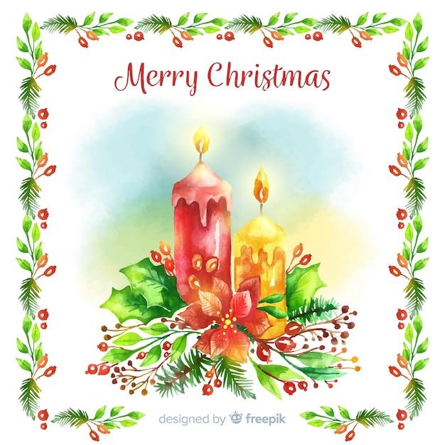 Aquarel kaarsen kerst achtergrond Gratis Vector