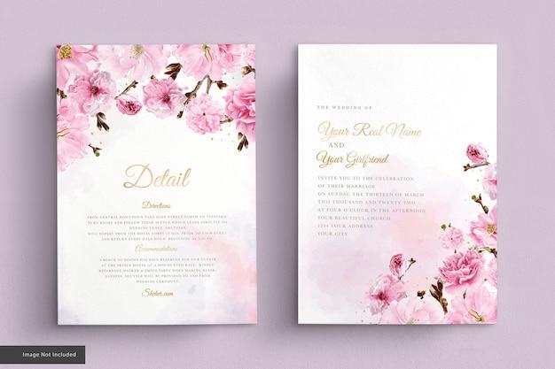 Aquarel kersenbloesem bruiloft uitnodiging kaartenset Gratis Vector