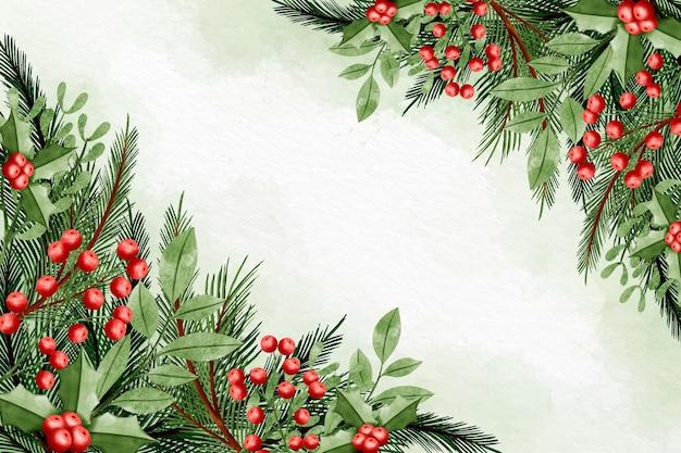 Aquarel kerst achtergrond Gratis Vector