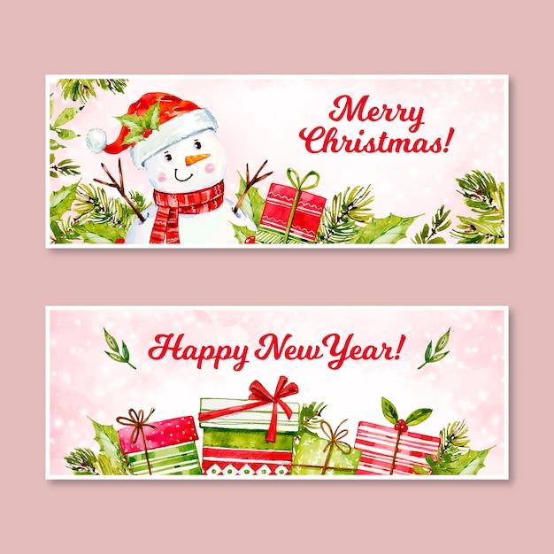 Aquarel kerst banners sjabloon Gratis Vector