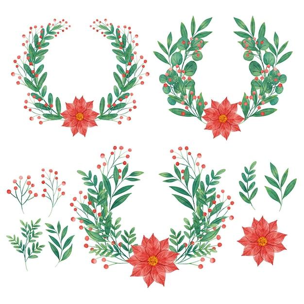 Aquarel kerst bloem en krans collectie Gratis Vector
