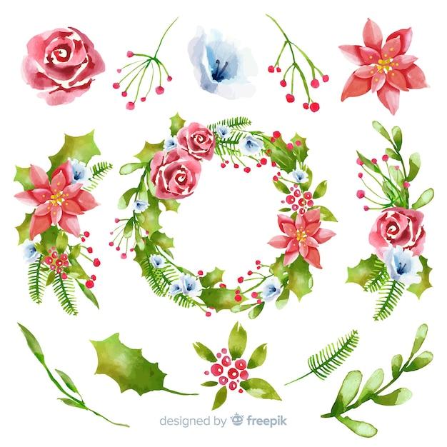 Aquarel kerst bloem & krans collectie Gratis Vector