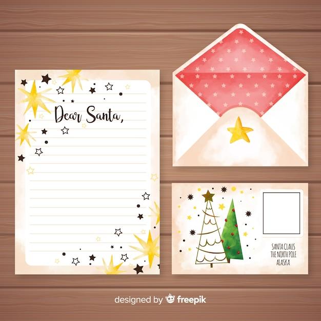 Aquarel kerst brief en envelop sjabloon Gratis Vector