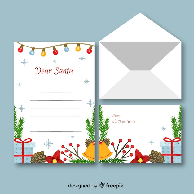 Aquarel kerst briefpapier sjabloon Gratis Vector