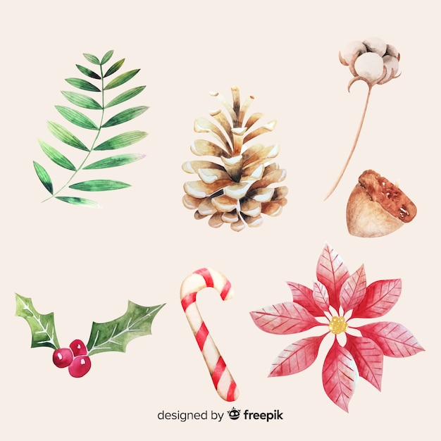 Aquarel kerst element collectie Gratis Vector