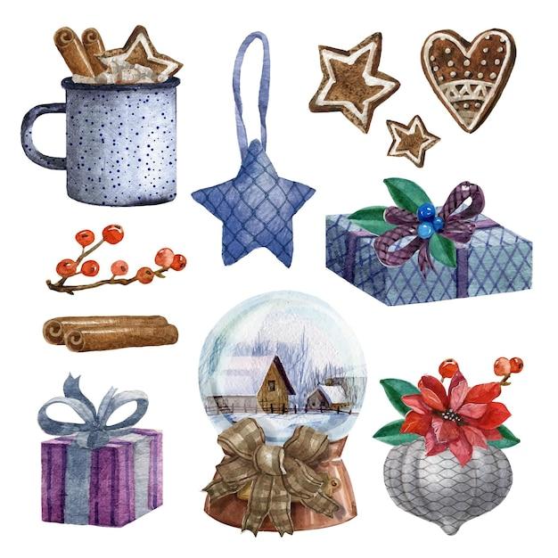 Aquarel kerst element collectie Gratis Vector