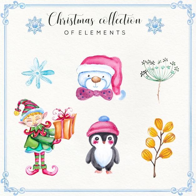 Aquarel kerst element-collectie Premium Vector