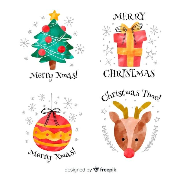 Aquarel kerst elementen labelinzameling Gratis Vector