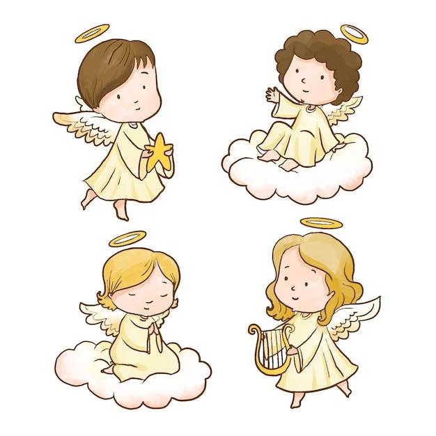Aquarel kerst engel collectie Gratis Vector