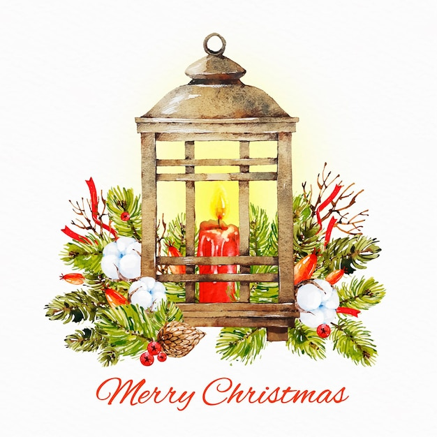 Aquarel kerst kaars achtergrond Gratis Vector