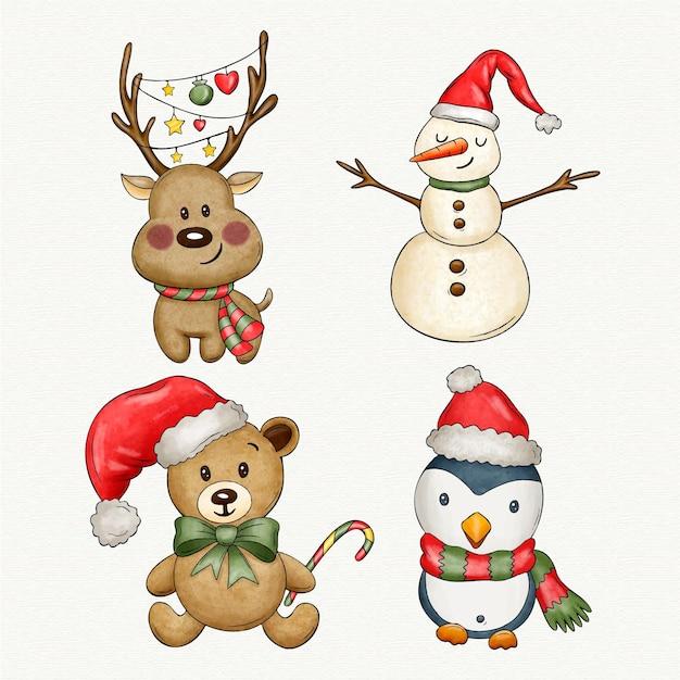 Aquarel kerst karakters collectie Premium Vector