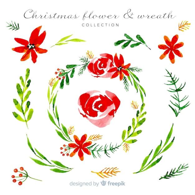 Aquarel kerst krans collectie Gratis Vector