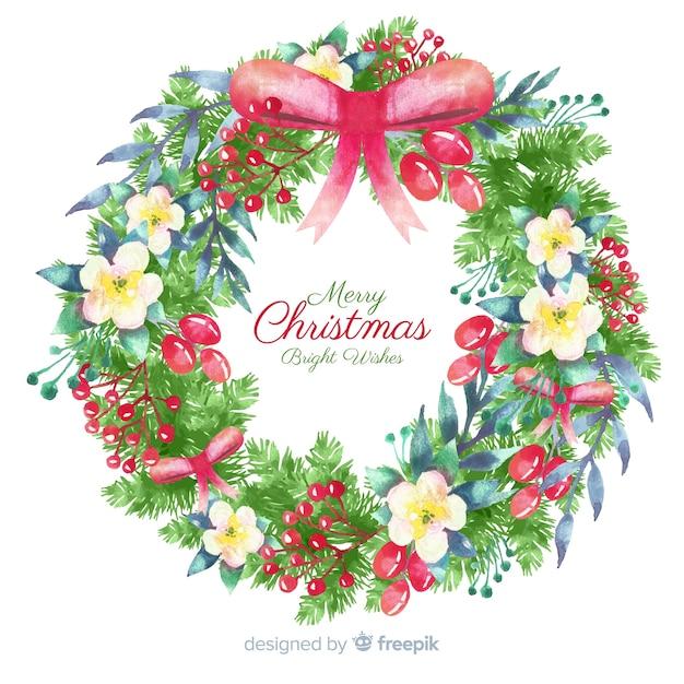 Aquarel kerst krans Gratis Vector